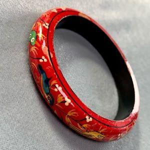 ❤️5 for $15 Vintage Hand Painted Wood Red Bangle Bracelet